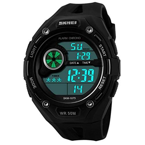 SKMEI Herren sportliches Design Multifunktions-LCD Digital Military Watch Alarm Outdoor Casual Armbanduhren - Schwarz