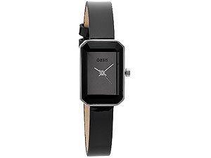 Oasis B1010Damen schwarz Lederband geschliffenes Glas Zifferblatt Armbanduhr