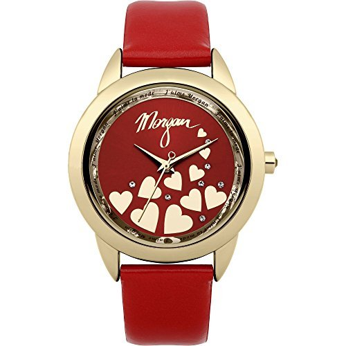 Morgan De Toi m1164r rot Patent Leder Riemen mit Gold Tone Gehaeuse und rot Zifferblatt Armbanduhr