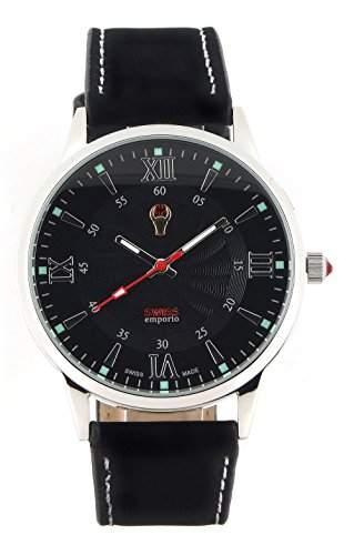 Swiss Emporio Herren-Armbanduhr Analog Quarz Lederarmband und Zifferblatt in Schwarz hergestellt in der Schweiz SE03BKSL10
