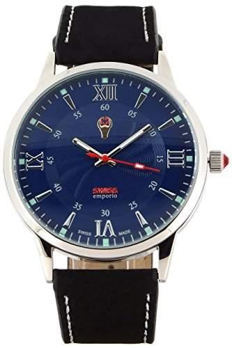 Swiss Emporio, Herren-ArmbanduhrQuarzuhr, SE03BKSL10, analoge Zeitanzeige, blaues Zifferblatt, Lederarmband,Schwarz, hergestellt in der Schweiz