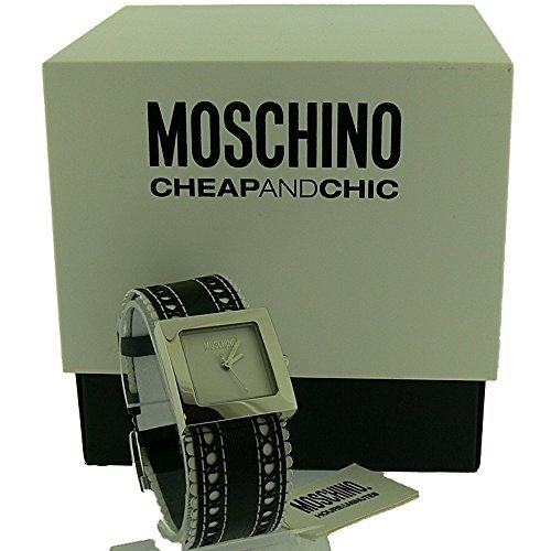 Moschino Damen Zeit 4 suesse Uhr in Schwarz und Weiss Rueschen Riemen mit weissem Zifferblatt mw7933