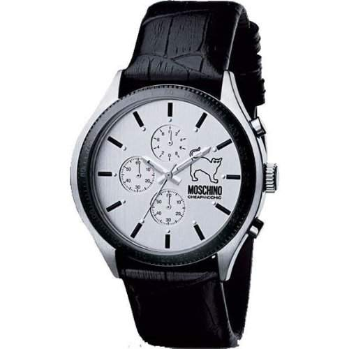 MOSCHINO WATCH LETS TURN BLACK CHR GENT SS SILVER DIAL MW0067