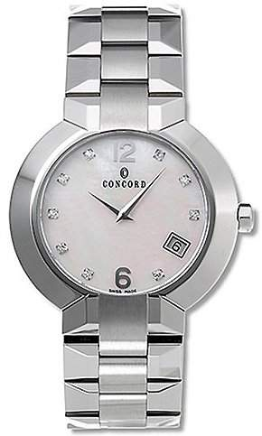 Concord La Scala Stainless Steel Mens Luxury Dress Watch Calendar MOP Dial 0310908