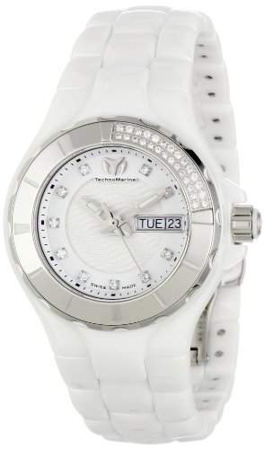 Technomarine Cruise Ceramic White Womens Diamond Watch Day of Week & Date 110023C