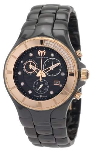 TechnoMarine Damen 110032C Cruise Ceramic Chronograph Diamant Gold-Tone Bezel Black Watch