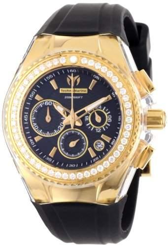 TechnoMarine Damen 111008 Cruise Original Star Chronograph Diamond Black Silikon Uhr