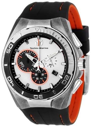 Technomarine Cruise Steel Evolution Chronograph Stonewashed Steel Mens Strap Watch Silver Dial 112006
