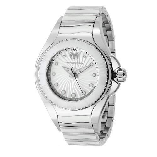 Technomarine Blue Manta Stainless Steel & White Ceramic Womens Watch Silver Dial 213001