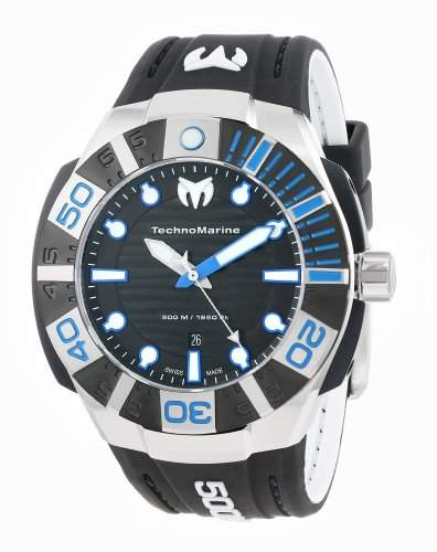Technomarine Black Reef Stainless Steel & Black PVD Coated Mens Strap Watch Black Dial 513001