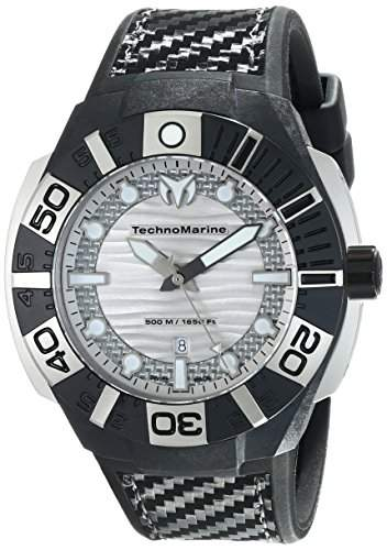 Technomarine Black Reef Black Micro Carbon & Stainless Steel Mens Strap Watch Silver Dial 514001