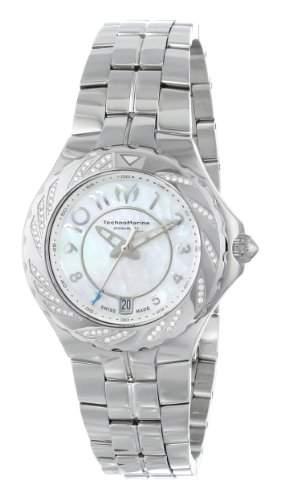 Technomarine Damen-Armbanduhr 34mm Armband Edelstahl + Gehaeuse Schweizer Quarz Zifferblatt Perlmutt 713004