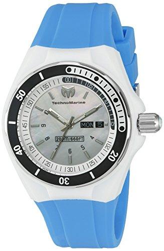TechnoMarine TechnoMarine Armband Silikon Blau Gehaeuse Edelstahl Schweizer Quarz 115122