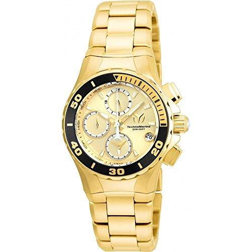 TechnoMarine Manta Armband Edelstahl Gold Gehaeuse Quarz Analog TM 215050