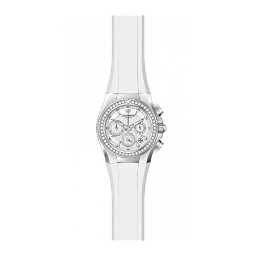 TechnoMarine Cruise Diamant 34mm Armband Silikon Weiss Gehaeuse Edelstahl Batterie 115232