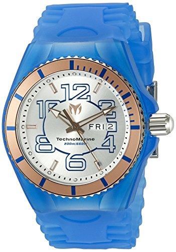 TechnoMarine TechnoMarine Armband Silikon Blau Gehaeuse Edelstahl Schweizer Quarz 115146