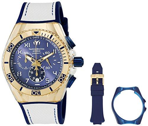 Technomarine 46mm Armband Silikon Blau Gehaeuse Edelstahl Schweizer Quarz Analog 115010