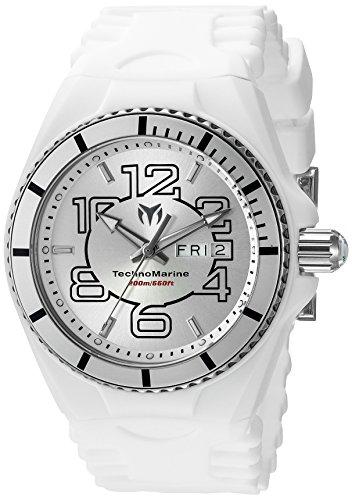 TechnoMarine TechnoMarine Armband Silikon Weiss Gehaeuse Edelstahl Schweizer Quarz 115139