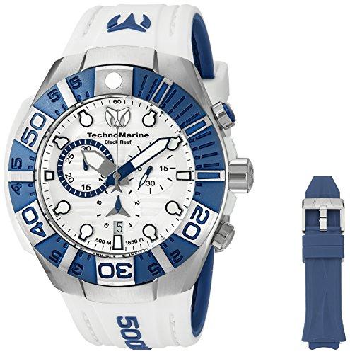 TechnoMarine TechnoMarine Armband Silikon Weiss Gehaeuse Edelstahl Schweizer Quarz 515020