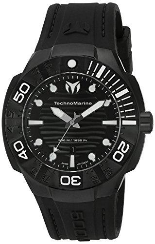 TechnoMarine Reef Armband Silikon Schwarz Gehaeuse Edelstahl Quarz Analog TM 515012