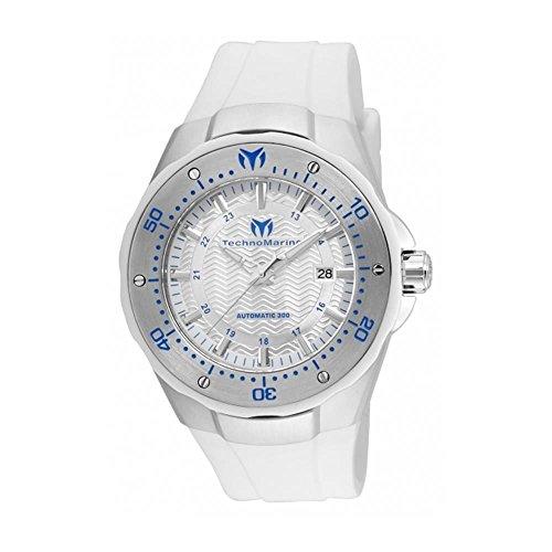 TechnoMarine Manta 48mm Armband Silikon Weiss Gehaeuse Edelstahl Automatik TM 215082