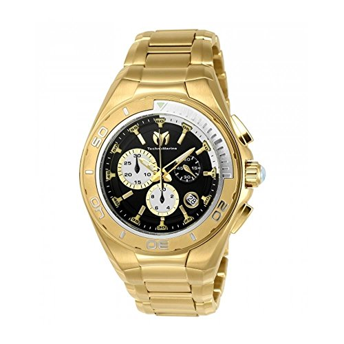 TechnoMarine Manta 45mm Armband Edelstahl Gold Gehaeuse Batterie Analog 215039