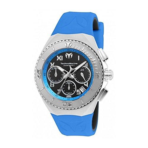 TechnoMarine Manta 40mm Armband Silikon Blau Gehaeuse Edelstahl Batterie TM 215075