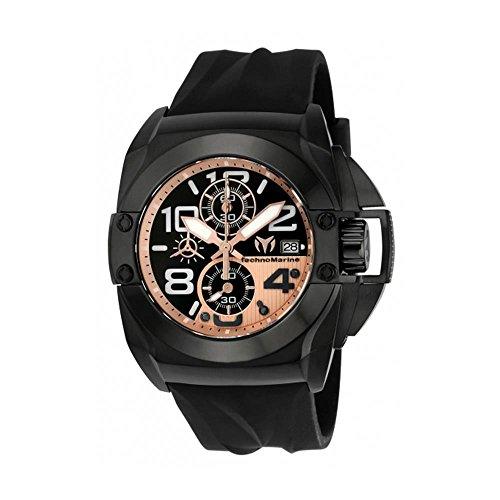 TechnoMarine Reef 45mm Armband Silikon Schwarz Gehaeuse Edelstahl Batterie TM 515015