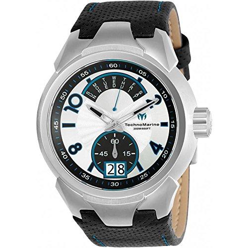 TechnoMarine Sea Dream 48mm Armband Leder Schwarz Gehaeuse Edelstahl Batterie TM 716001