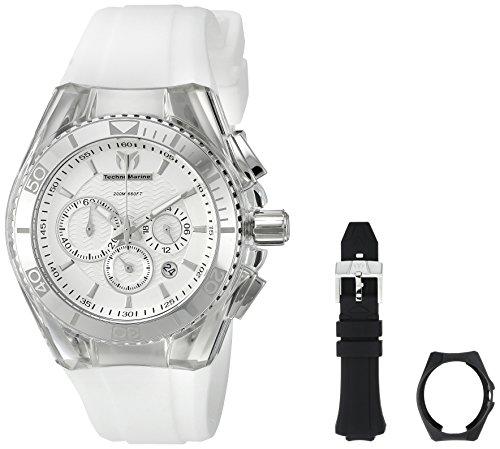 Technomarine TechnoMarine Unisex Armbanduhr 40mm Armband Silikon Weiss Gehaeuse Edelstahl Quarz 115041