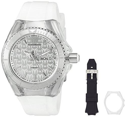 Technomarine Unisex Armbanduhr 40mm Armband Silikon Weiss Gehaeuse Edelstahl Quarz Zifferblatt Silber 115060