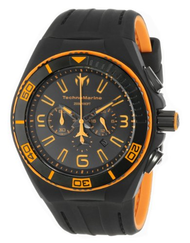 TechnoMarine Cruise Original Night Vision Luminous Indizes Herren Quarzuhr mit schwarzem Zifferblatt Chronograph Anzeige und schwarzes Silikonband 112005