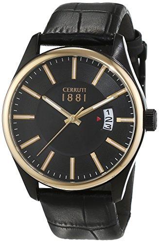 Cerruti 1881 Herren Armbanduhr PALINURO Analog Quarz Leder CRA127SBG02BK