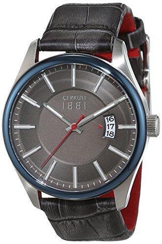 Cerruti 1881 Herren Armbanduhr PALINURO Analog Quarz Leder CRA127STBL61GY