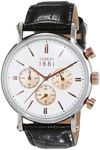 Cerruti 1881 Herren Armbanduhr TREMEZZO Analog Quarz Leder CRA110STR01BK