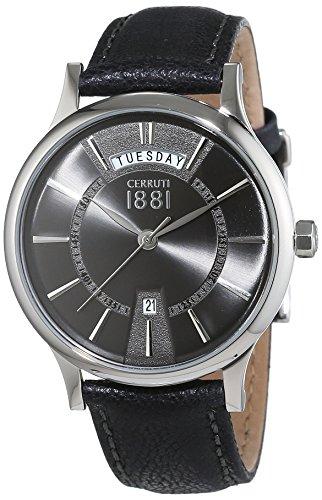 Cerruti 1881 Herren Armbanduhr VARALLO Analog Quarz Leder CRA128SN61BK