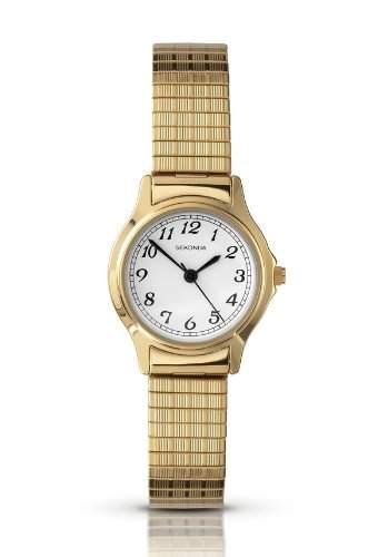 Sekonda Ladies White Dial Gold Plated Expanding Bracelet Watch 4134B