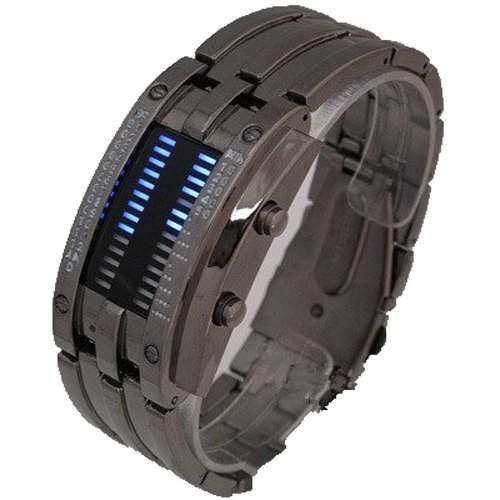 JMT Fashion Design Staineless steel Binary Digital Watch Quartz Knight LED 30M waterproof Boys Mens Wristwatch Gift