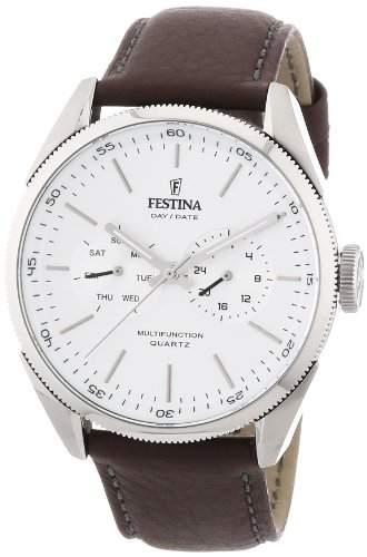 Festina Herrenuhr F16629-1 - Chronograph, Leder/Edelstahl, Silber/Weiß/Braun
