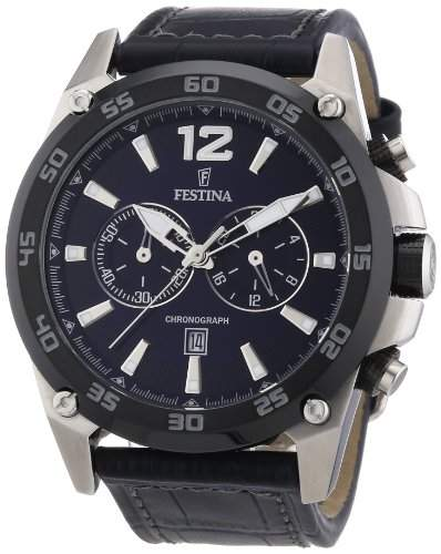 Festina Herren-Armbanduhr XL Chronograph Quarz Leder F166732