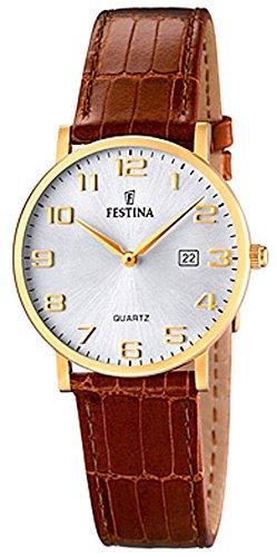 Festina Damenarmbanduhr Quarzuhr Analog Edelstahl IP gelb mit Lederarmband und Datumsanzeige alle Modelle F16479 Variante 02