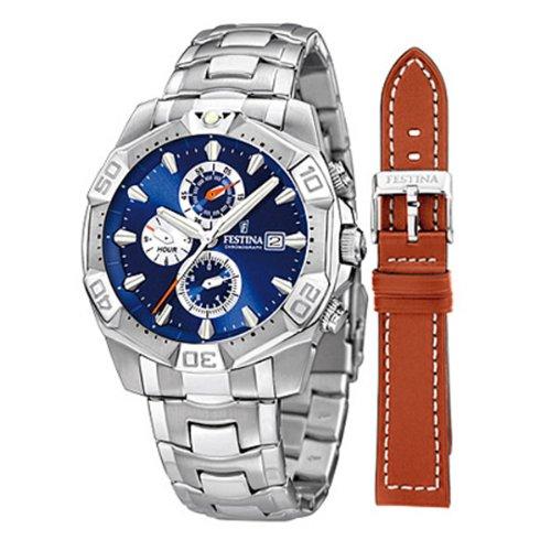 Festina XL Sport Chronograph Chronograph Edelstahl F16286 2 braunem Wechsel Lederarmband