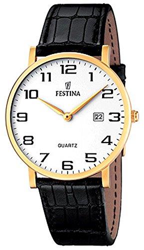 Festina Herrenarmbanduhr Quarzuhr Analog Edelstahl IP gelb mit Lederarmband und Datumsanzeige alle Modelle F16478 Variante 01