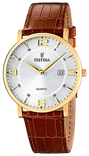 Festina Herrenarmbanduhr Quarzuhr Analog Edelstahl IP gelb mit Lederarmband und Datumsanzeige alle Modelle F16478 Variante 03