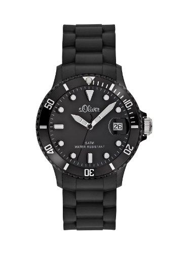 s Oliver Unisex Armbanduhr Medium Size Silikon schwarz Analog Quarz SO 1934 PQ