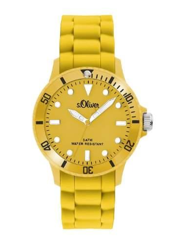 sOliver Unisex-Armbanduhr Medium Size Silikon gelb SO-2304-PQ