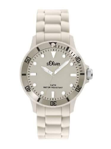 sOliver Unisex-Armbanduhr Medium Size Silikon beige SO-2305-PQ