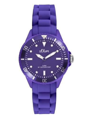 sOliver Damen-Armbanduhr Small Size Silikon violett SO-2310-PQ