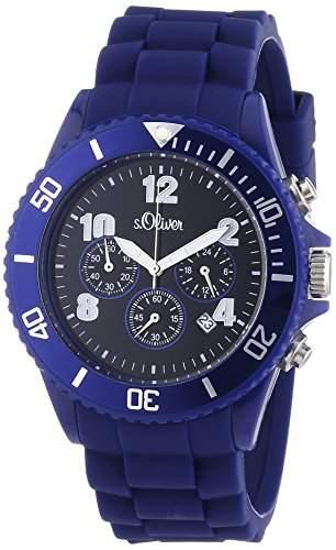 sOliver Unisex-Armbanduhr Big Size Chronograph Silikon blau SO-2325-PC