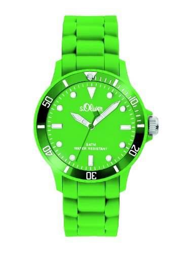 sOliver Unisex-Armbanduhr Medium Size Silikon Neon Gruen SO-2330-PQ